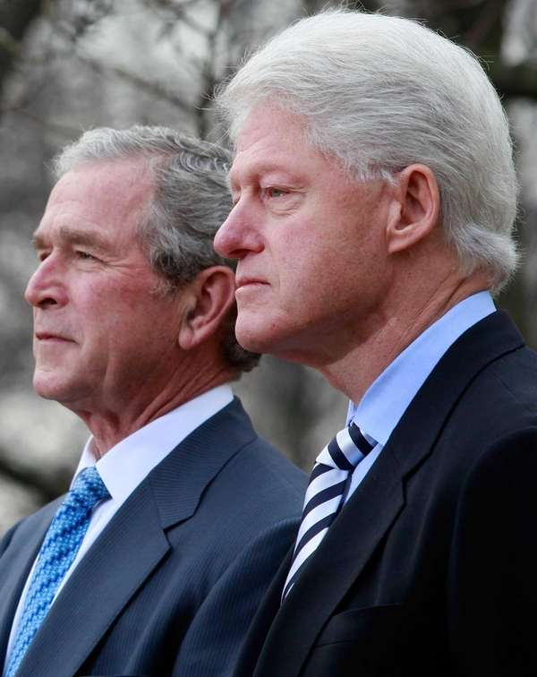 Former Presidents Bill Clinton and George W. Bush