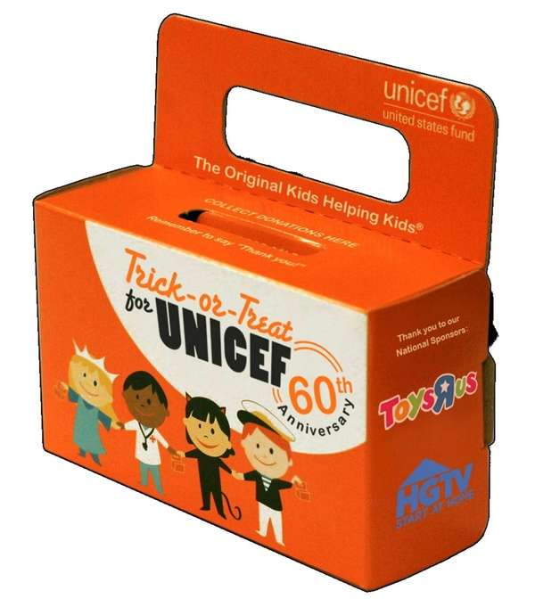 "UNICEF's bright orange ""Trick-or-Treat for UNICEF"" box"