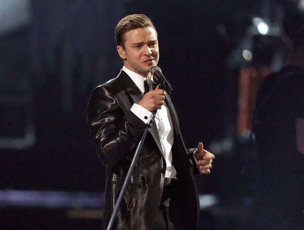 Justin Timberlake takes the stage during the Brit