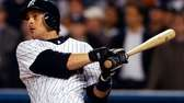 Aaron Boone hits a home run during Game