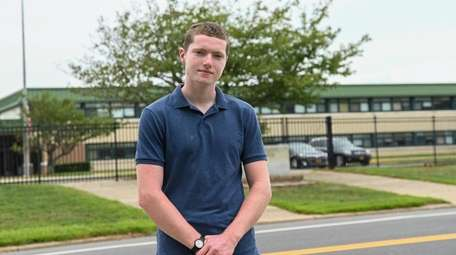 Maverick Stow outside William Floyd High School on