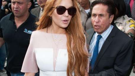 Lindsay Lohan outside a Los Angeles court with