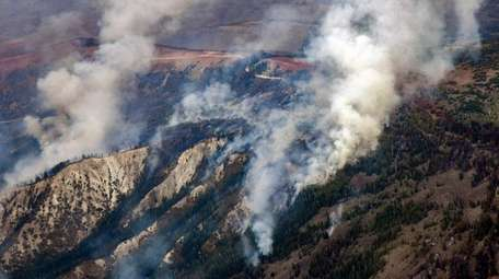 In this aerial photo, the Grizzly Creek Fire