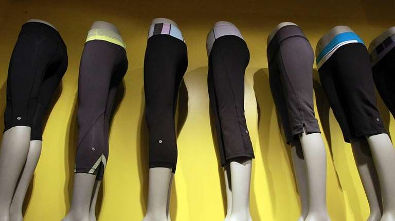 A line of sweatpants is displayed at Lululemon