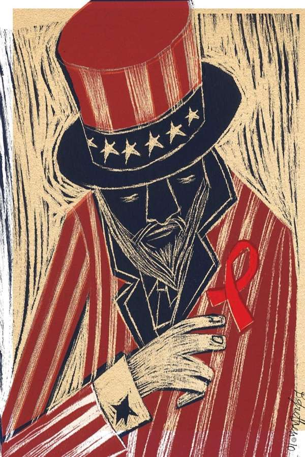 Uncle Sam fights AIDS TMS Illustration by Donna