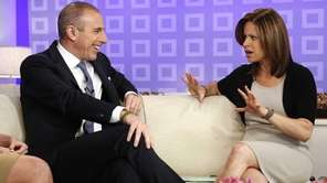 Matt Lauer, left, talking with weekend correspondent Jenna