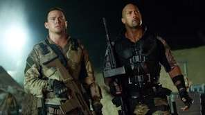 Channing Tatum, left, and Dwayne Johnson in a