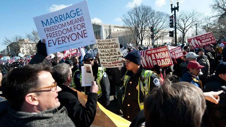 Opponents and supporters of same-sex marriage converge in