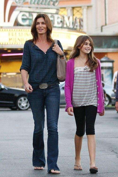 Cindy Crawford seen with her daughter Kaia talked