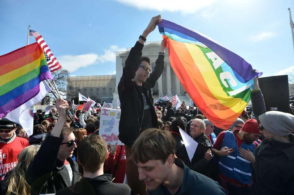 Supporters of same-sex marriage demonstrate in front of