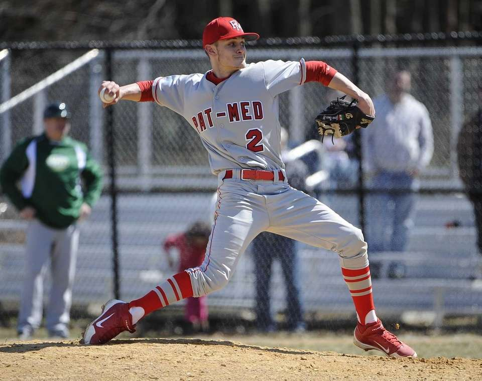 Patchogue-Medford starting pitcher Matthew Vogel delivers a pitch