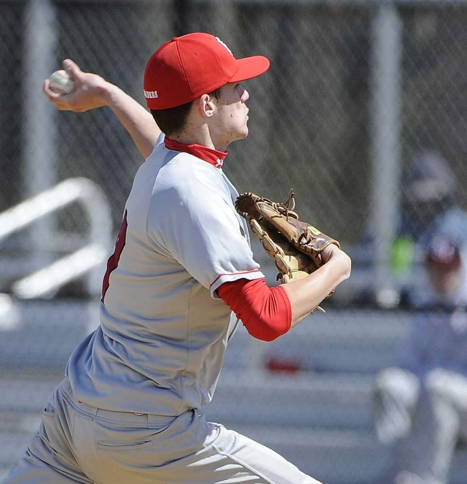 Patchogue-Medford pitcher Matt Windsor delivers a pitch during