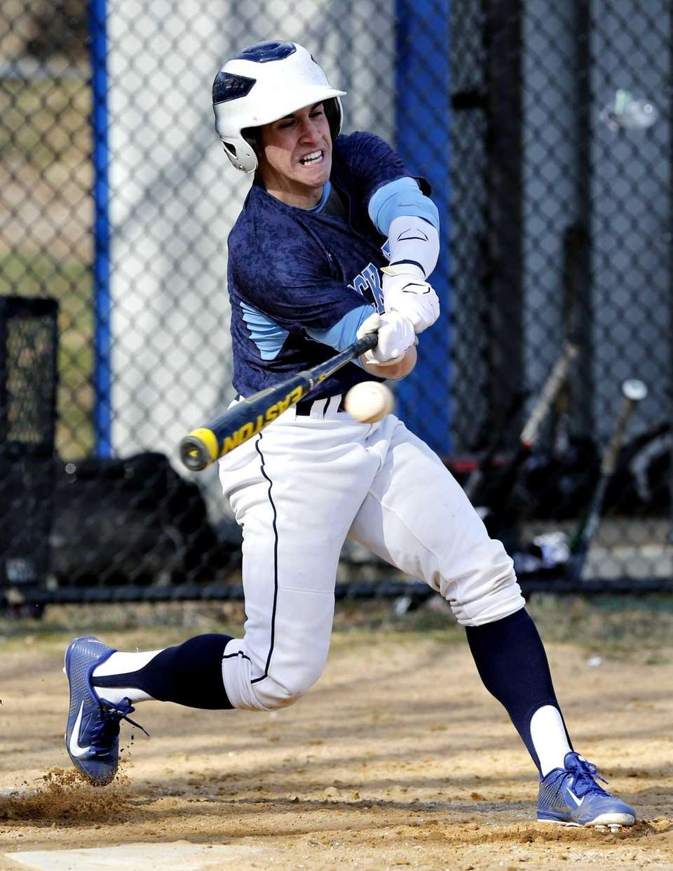 Rocky Point's Frank Moscatiello swings at a belt-high