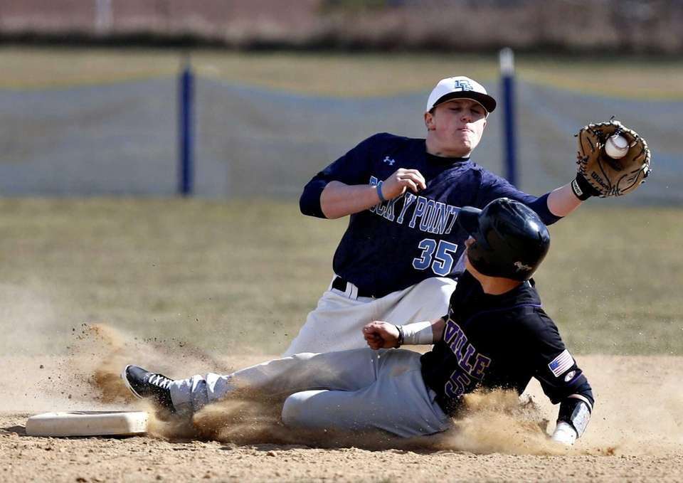 Sayville's Joseph Walsh is safe at second on