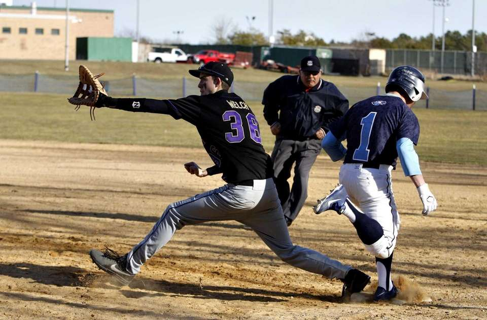 Rocky Point's Frank Moscatiello beats out an infield