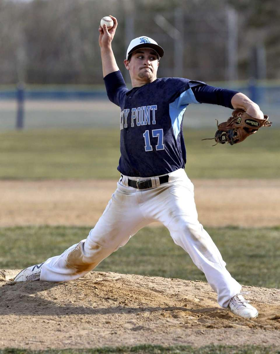 Rocky Point starting pitcher Tyler Piccolo throws a