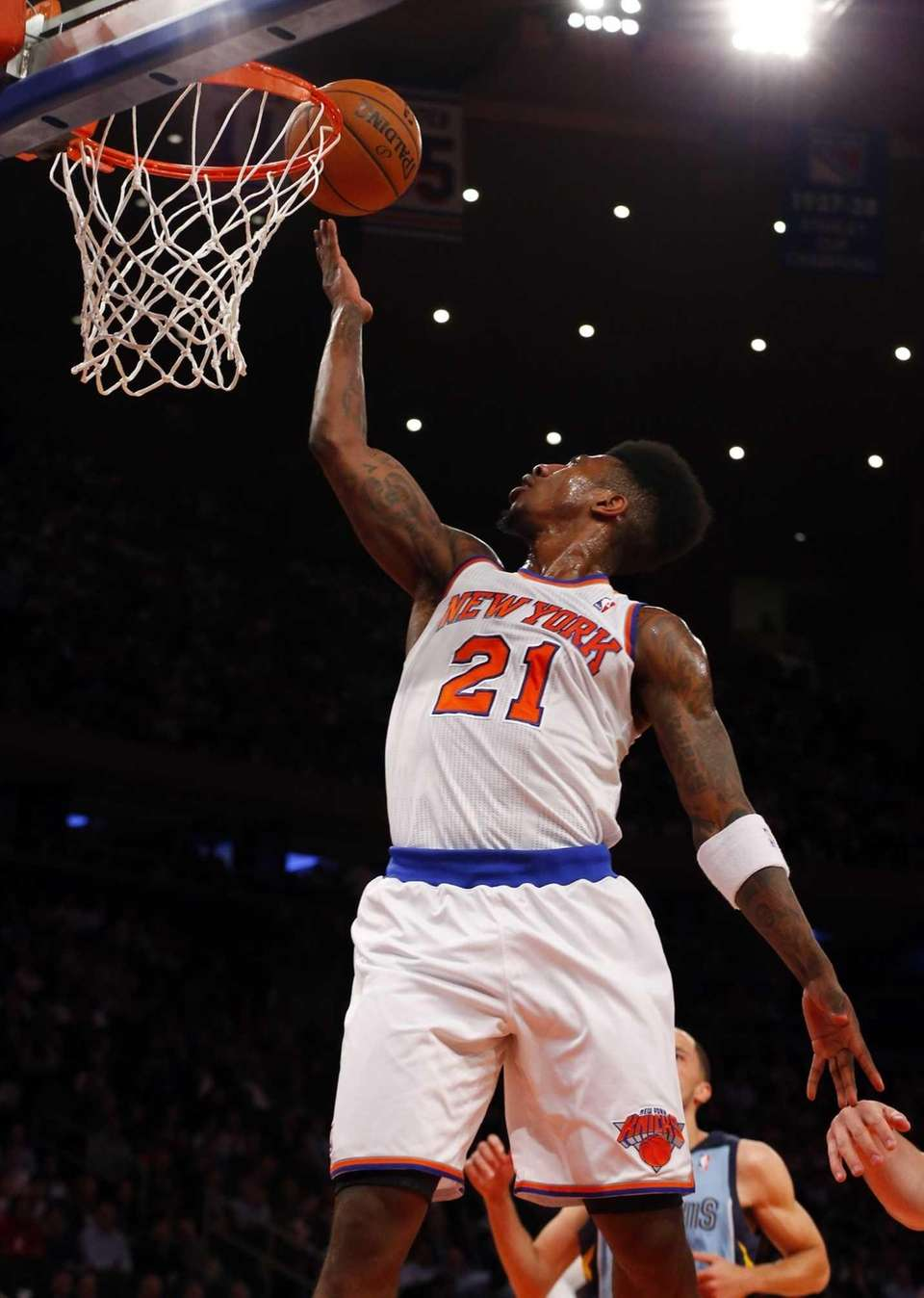Iman Shumpert of the Knicks goes for a