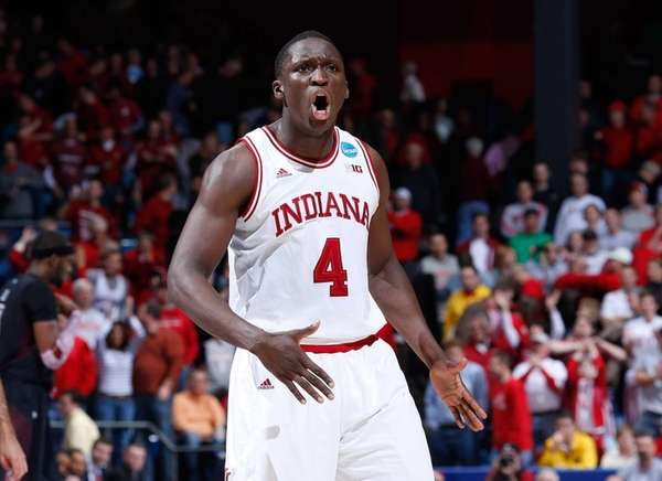 Indiana's Victor Oladipo reacts after a play late