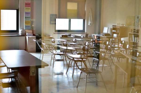 An empty classroom at the start of a