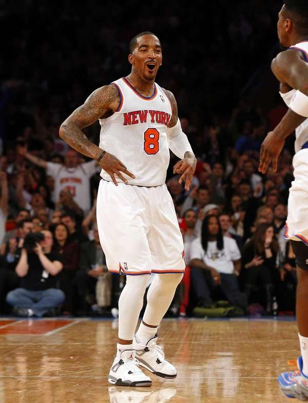 J.R. Smith of the Knicks celebrates a three-point