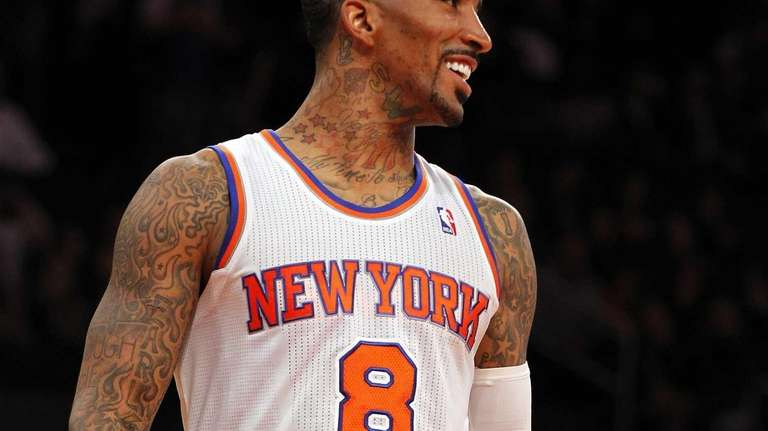 J.R. Smith of the Knicks smiles in the