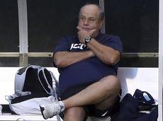 UConn head coach Ray Reid looks on against
