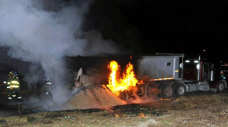 Jericho and Hicksville firefighters extinguished a truck fire