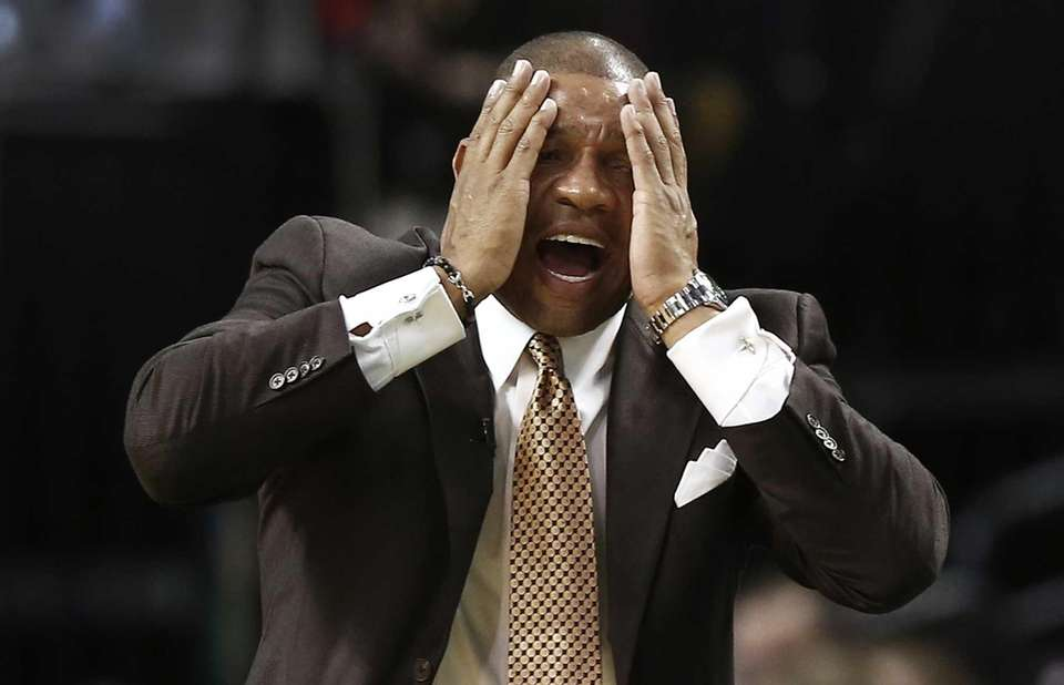 Boston Celtics head coach Doc Rivers reacts to