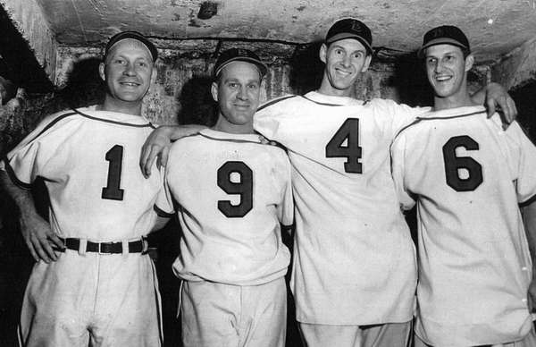 The Cardinals celebrate their 1946 World Series win.