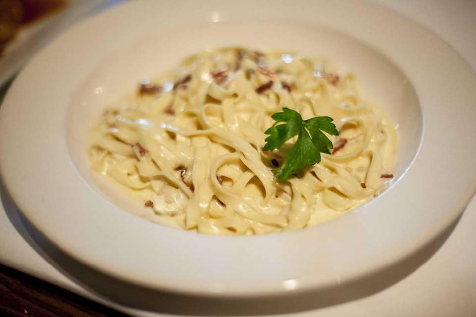 Fettucini carbonara at Benny's Ristorante in Westbury. (March