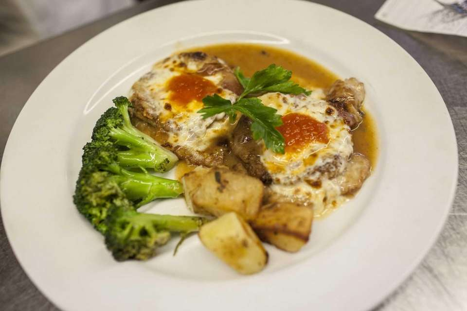 Veal Sorrentina, a breaded veal cutlet topped with
