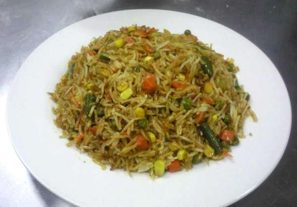 Vegetable biryani at Namaste America, a new Indian