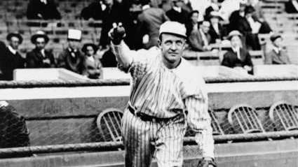 New York Giants' star pitcher, Christy Mathewson, who