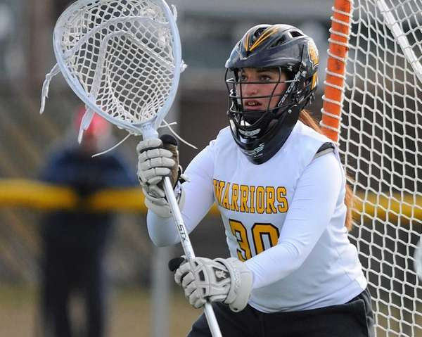 Wantagh goalie Sophia Gambitsky squares to a shooter