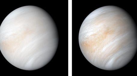 Venus is seen from Mariner 10.