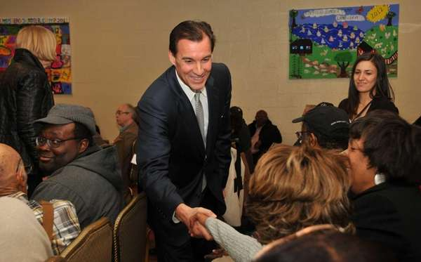 Nassau County Executive candidate Tom Suozzi greets supporters