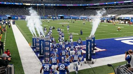 The Giants take the field for a game