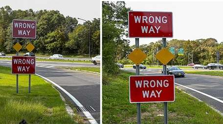 Wrong way signs on the off-ramps of the