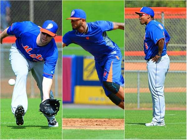 This collage features Mets outfielders Mike Baxter, left,