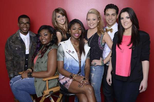 "The ""American Idol"" Top 7, from left: Burnell"