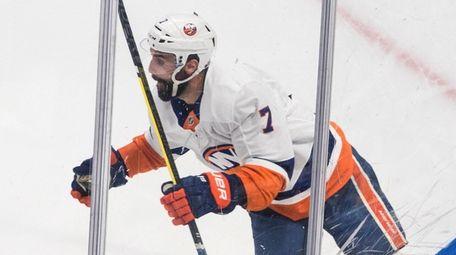 Islanders right wing Jordan Eberle celebrates after scoring