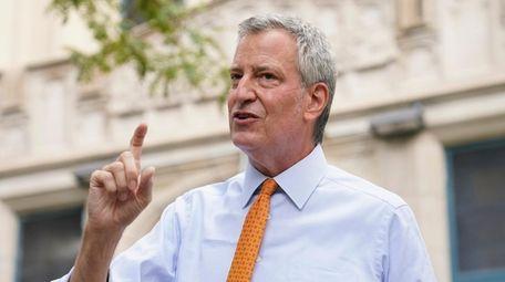 New York Mayor Bill de Blasio in Brooklyn