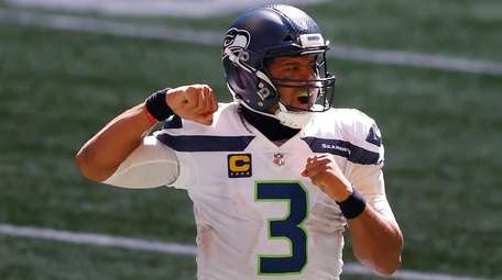 Russell Wilson of the Seahawks reacts after a