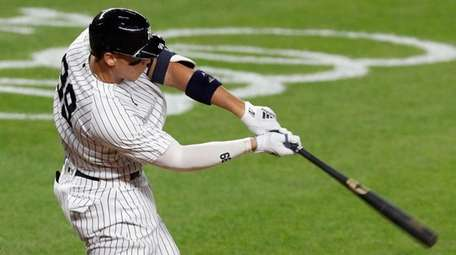 Aaron Judge of the Yankees swings at a