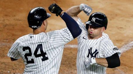 Brett Gardner of the Yankees celebrates his fourth-inning