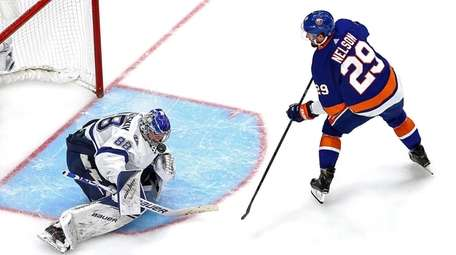 Andrei Vasilevskiy of the Lightning makes the save