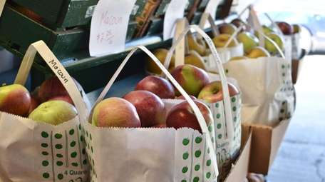 Full bags of fresh Macoun apples are sold