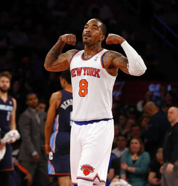 J.R. Smith of the Knicks celebrates a first