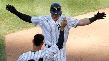 Luke Voit  of the Yankees celebrates his