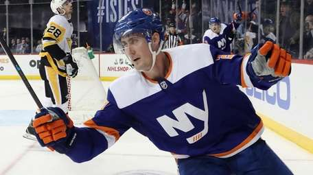 Brock Nelson of the Islanders scores the game